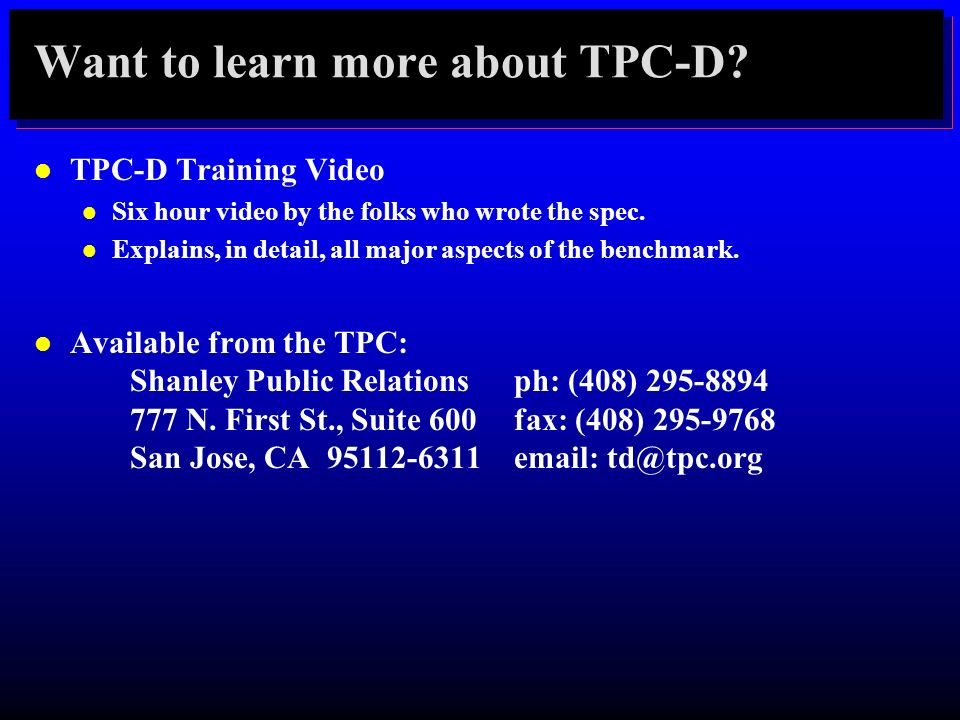 Want to learn more about TPC-D