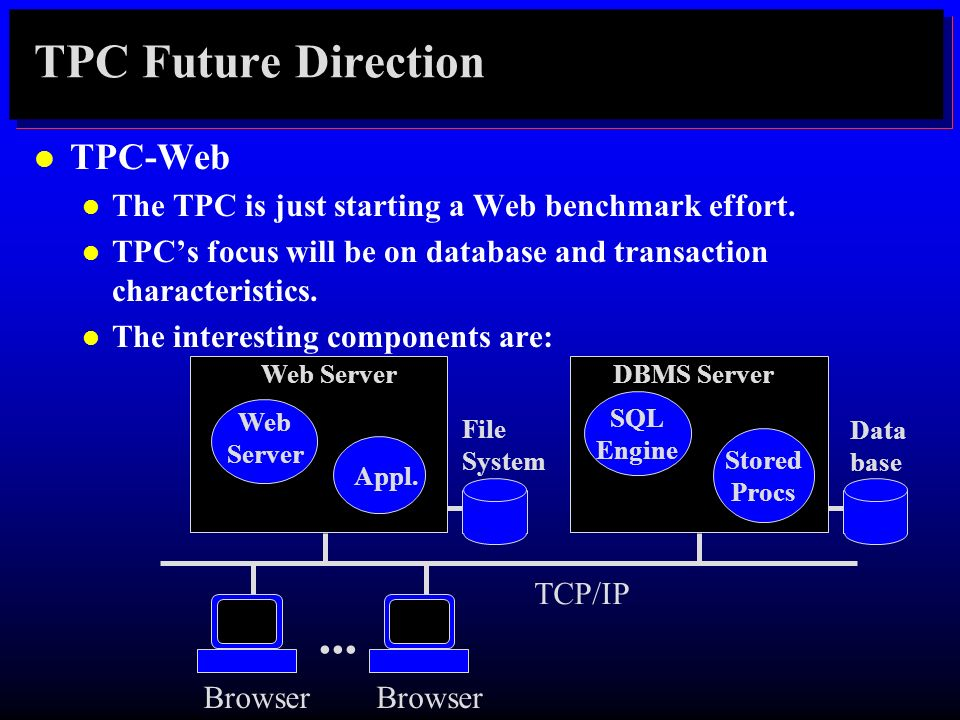 ... TPC Future Direction TPC-Web