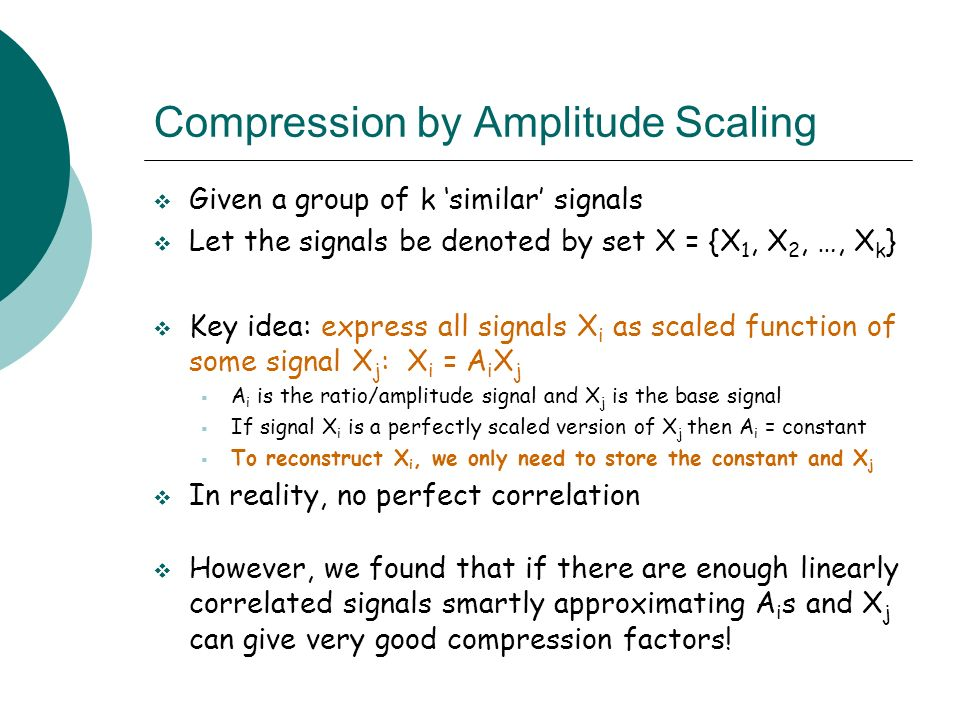 Compression by Amplitude Scaling