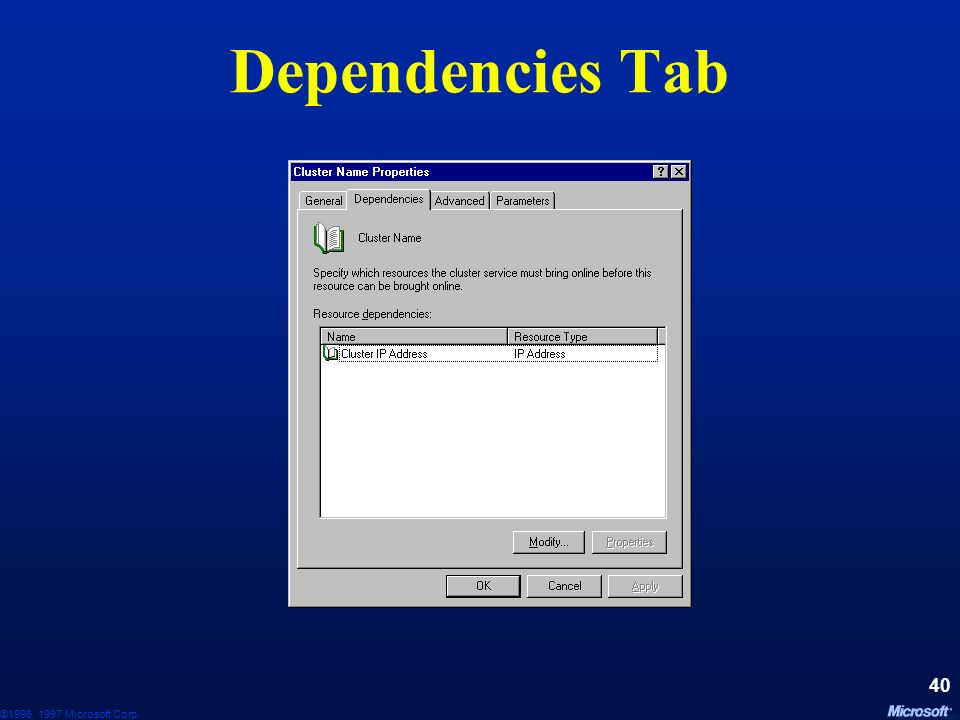Dependencies Tab