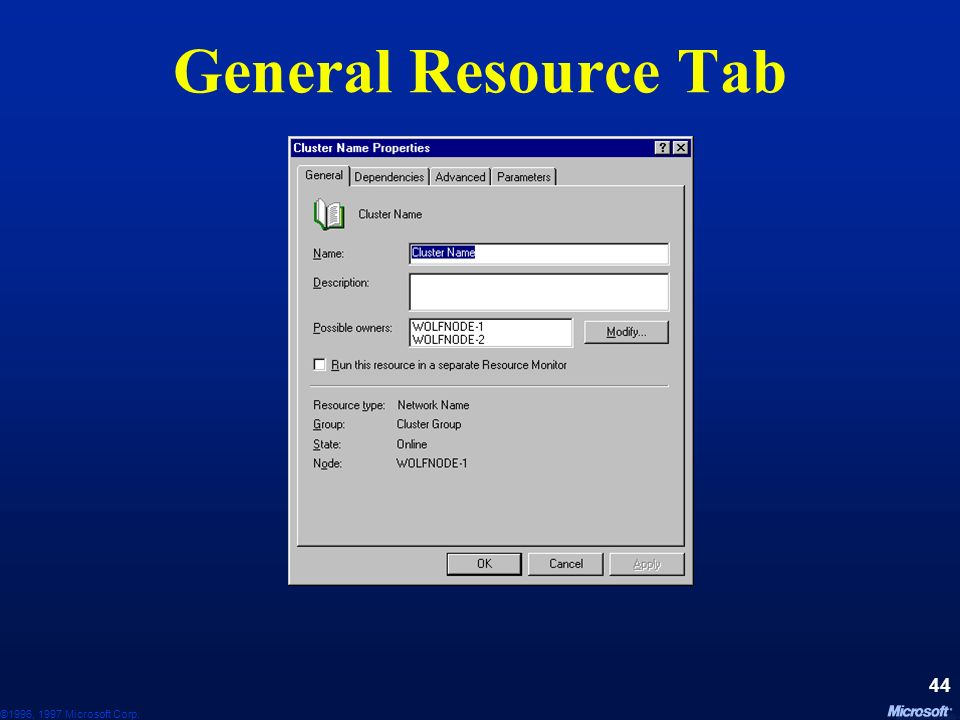 General Resource Tab