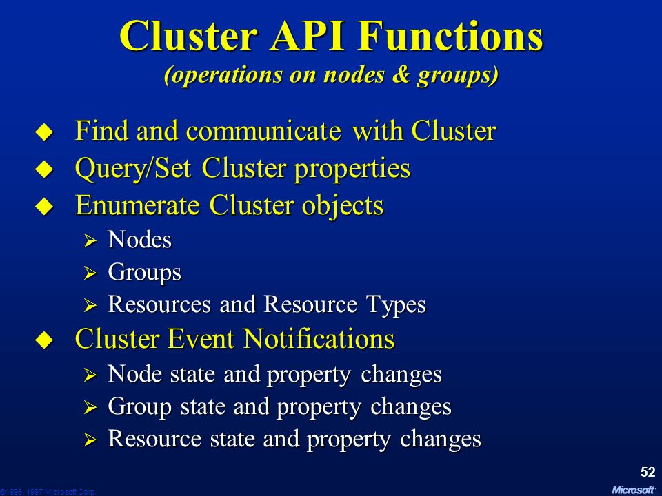 Cluster API Functions (operations on nodes & groups)