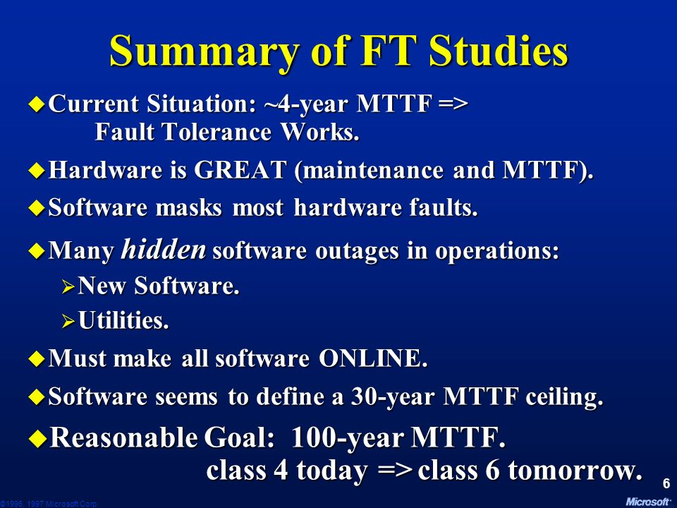 June 24, 1997 Summary of FT Studies. Current Situation: ~4-year MTTF => Fault Tolerance Works. Hardware is GREAT (maintenance and MTTF).