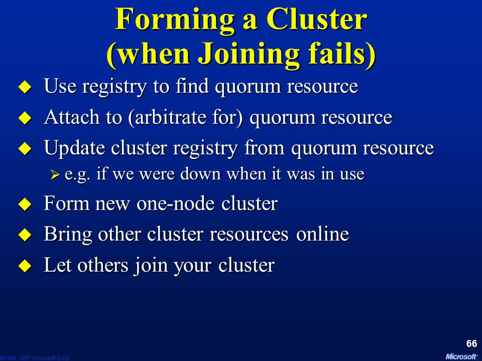 Forming a Cluster (when Joining fails)