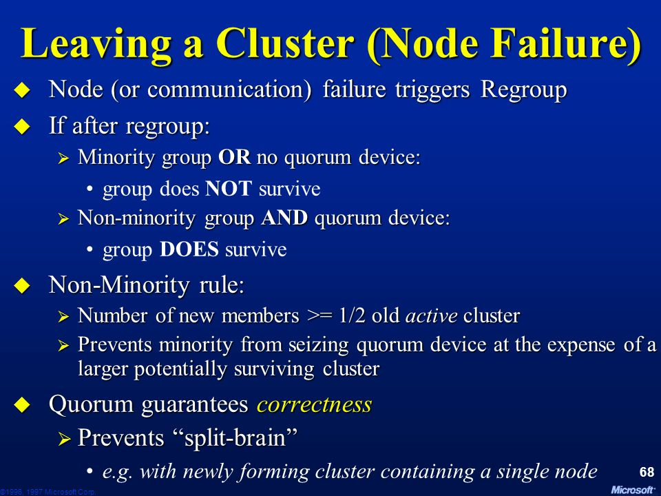 Leaving a Cluster (Node Failure)