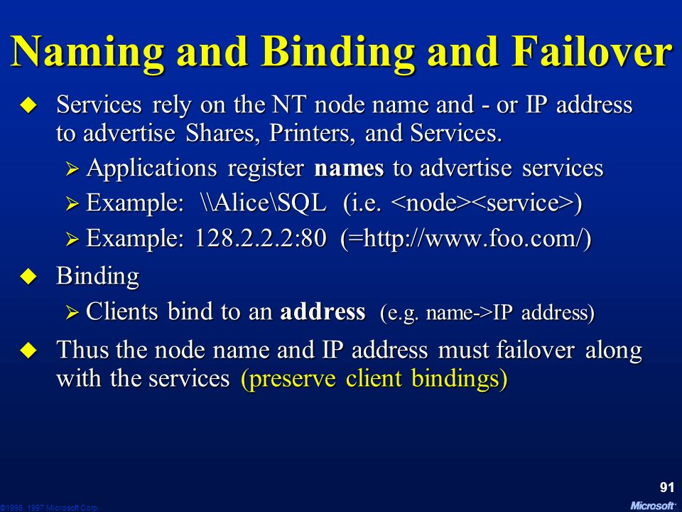 Naming and Binding and Failover