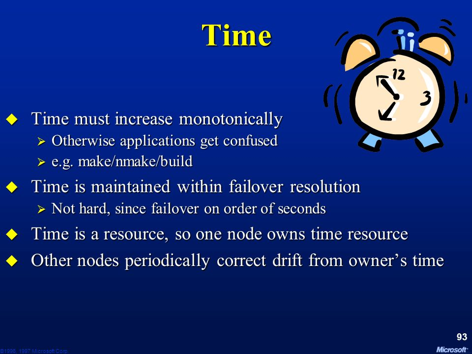 Time Time must increase monotonically