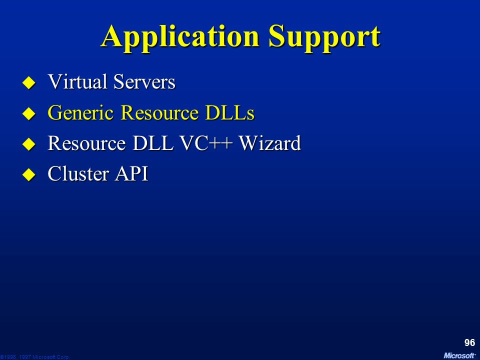 Application Support Virtual Servers Generic Resource DLLs