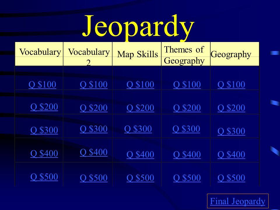 Jeopardy Themes Of Geography Vocabulary Vocabulary 2 Map Skills