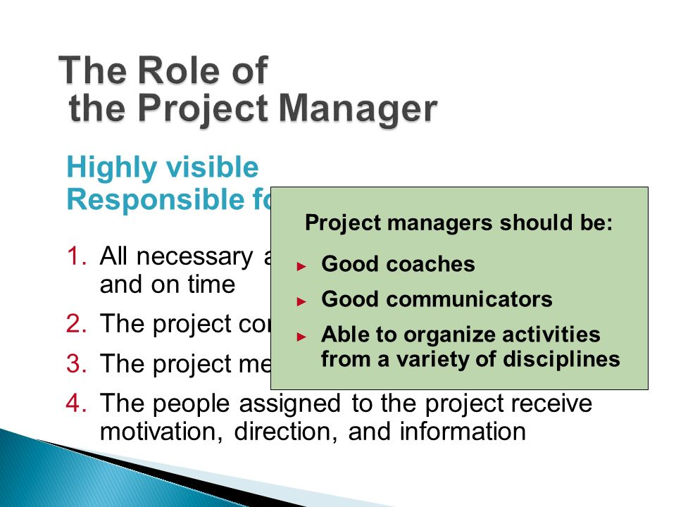 roles of a project manager Project manager pm definition - a project manager is the person responsible for leading a project from its inception to execution this includes planning.