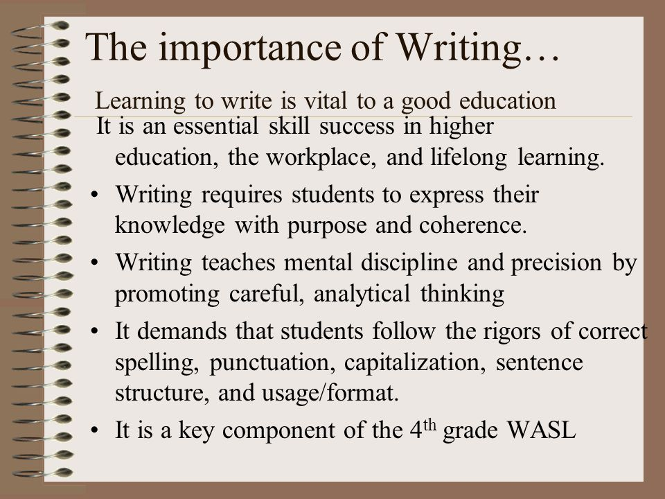 the importance of writing well essay As students approach their gmat test dates, it becomes more and more important to them to be able to handle the awa essays at the beginning of the test both efficiently and capably, earning a score of 5 or 6.