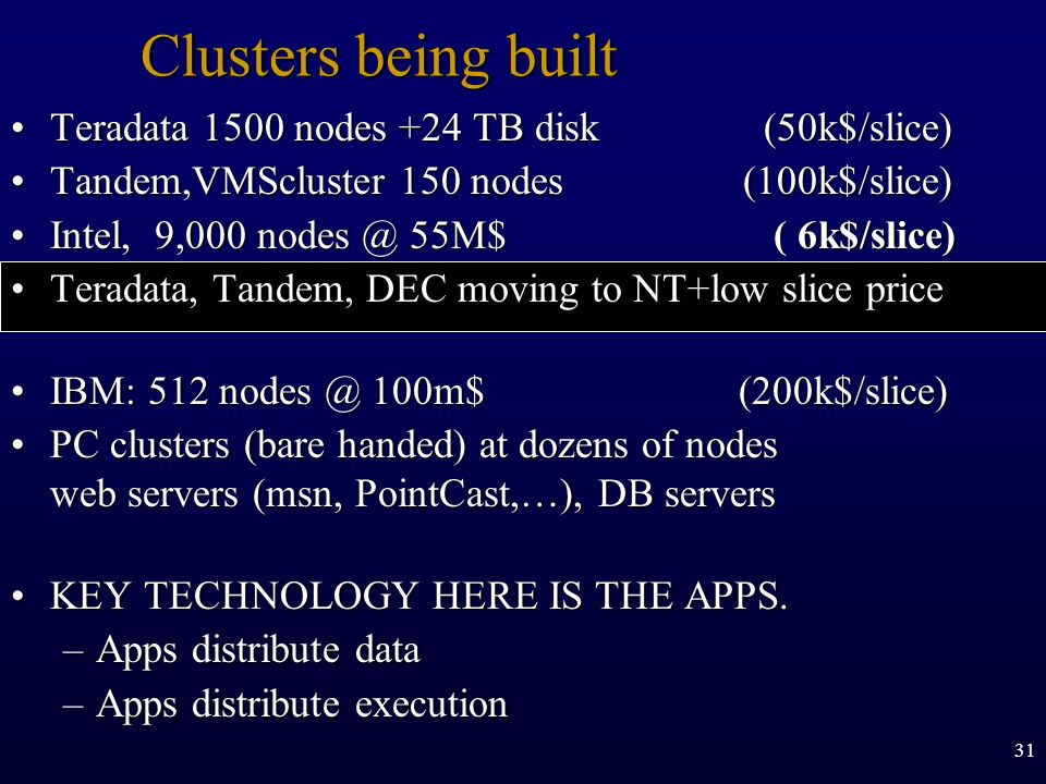 Clusters being built Teradata 1500 nodes +24 TB disk (50k$/slice)