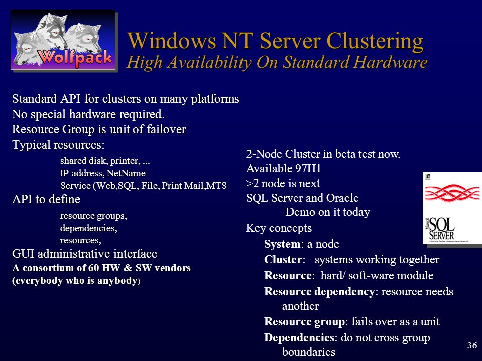 Windows NT Server Clustering High Availability On Standard Hardware