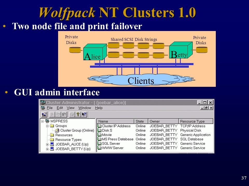 Wolfpack NT Clusters 1.0 B A Two node file and print failover Clients