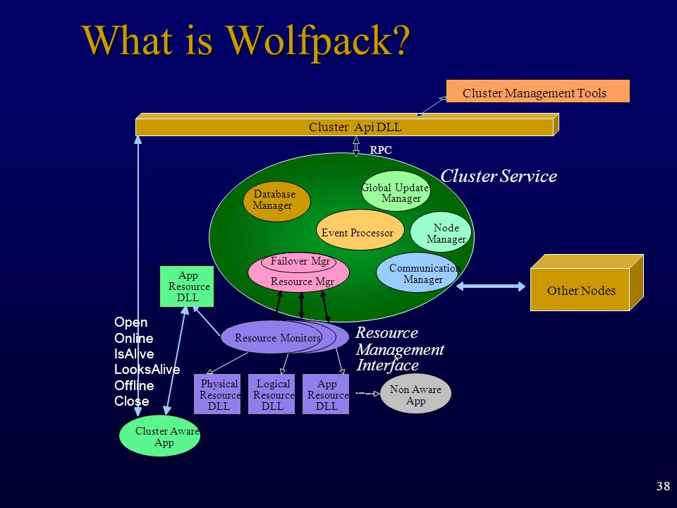 What is Wolfpack Cluster Service Resource Management Interface
