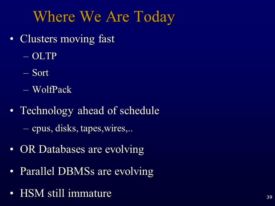 Where We Are Today Clusters moving fast Technology ahead of schedule