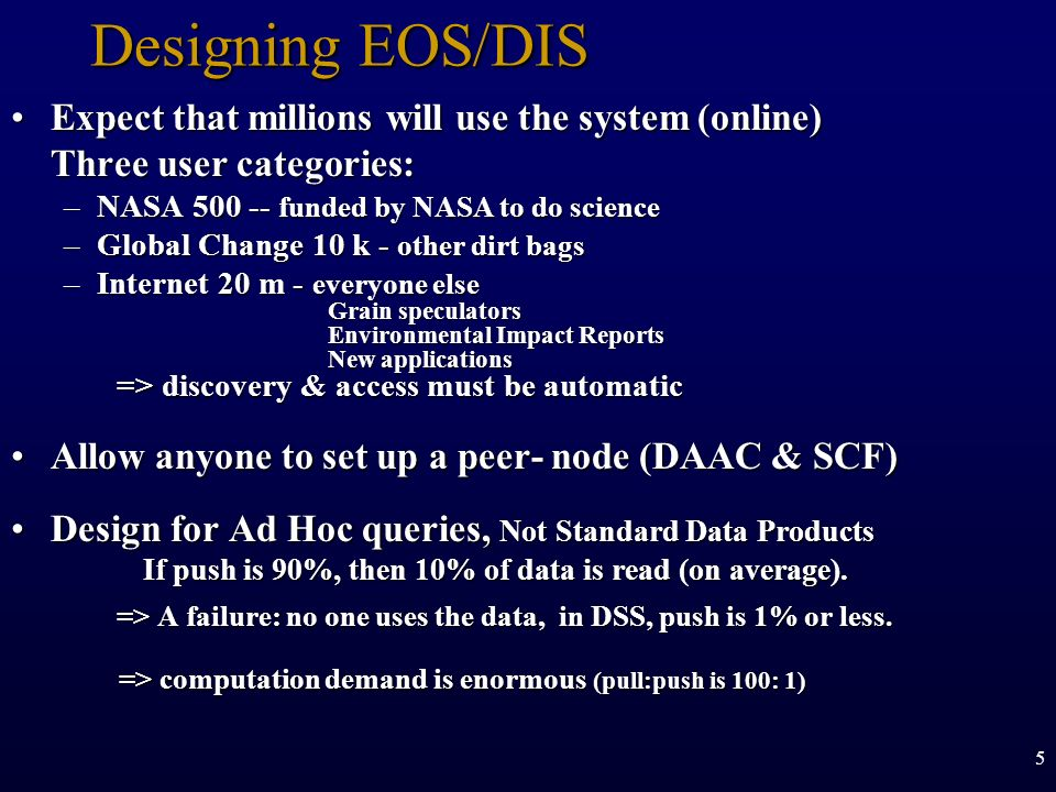 Designing EOS/DIS Expect that millions will use the system (online) Three user categories: NASA 500 -- funded by NASA to do science.