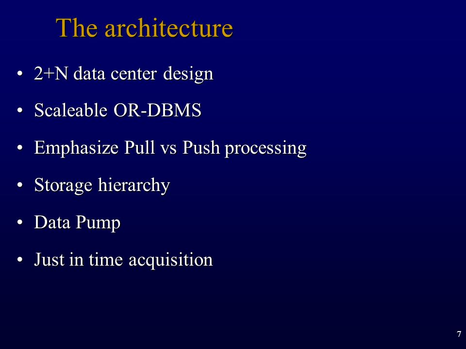The architecture 2+N data center design Scaleable OR-DBMS