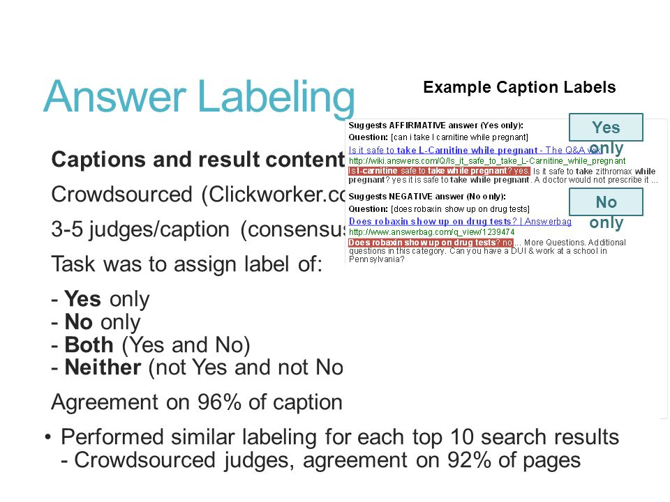 Answer Labeling Captions and result content