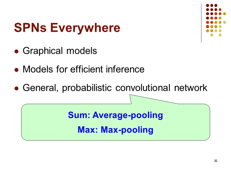 SPNs Everywhere Graphical models Models for efficient inference
