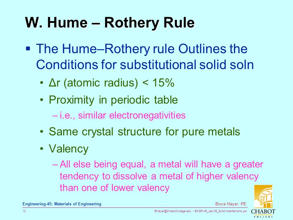 hume rothery rules Furthermore, although more modern research does take notice of how the electron density etc affect solubility, that isn't the hume-rothery rules in the 1930s and 1950s hume-rothery didn't publish anything about that.