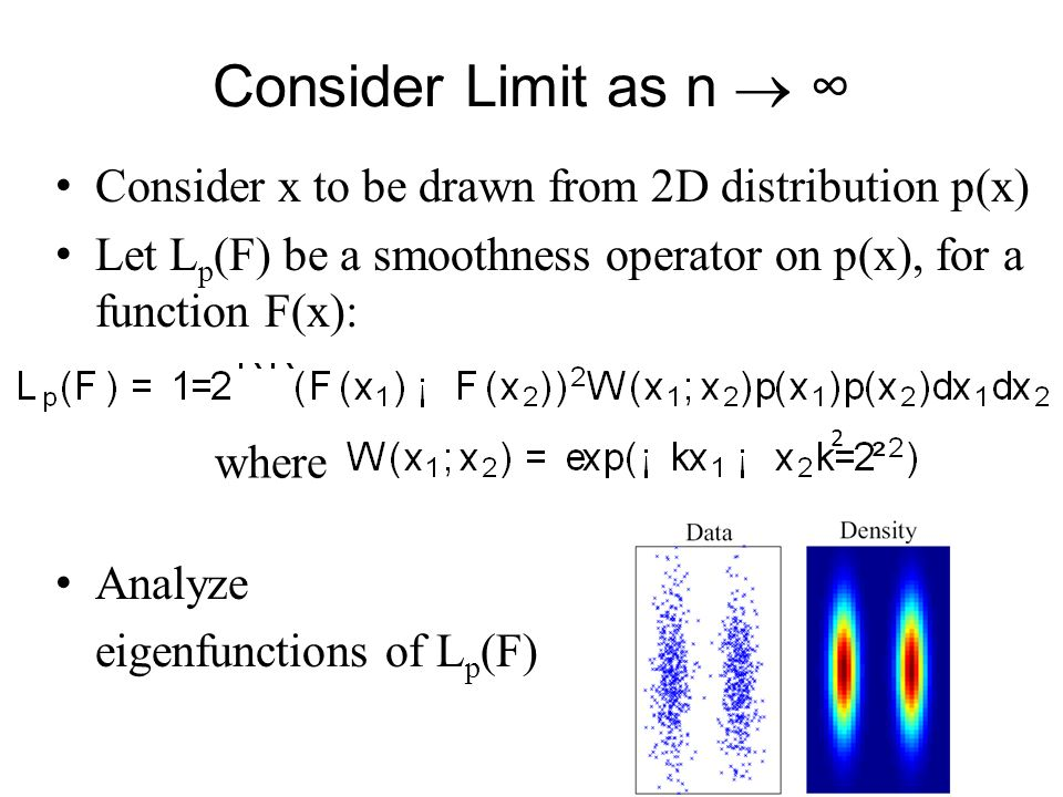 Consider Limit as n  ∞ Consider x to be drawn from 2D distribution p(x) Let Lp(F) be a smoothness operator on p(x), for a function F(x):