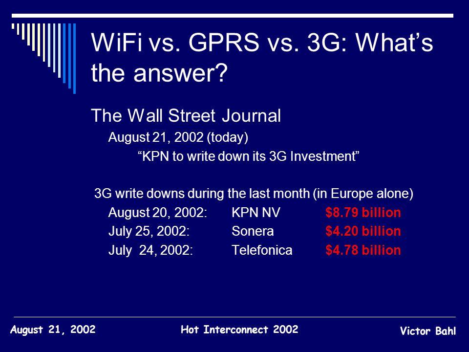 WiFi vs. GPRS vs. 3G: What's the answer