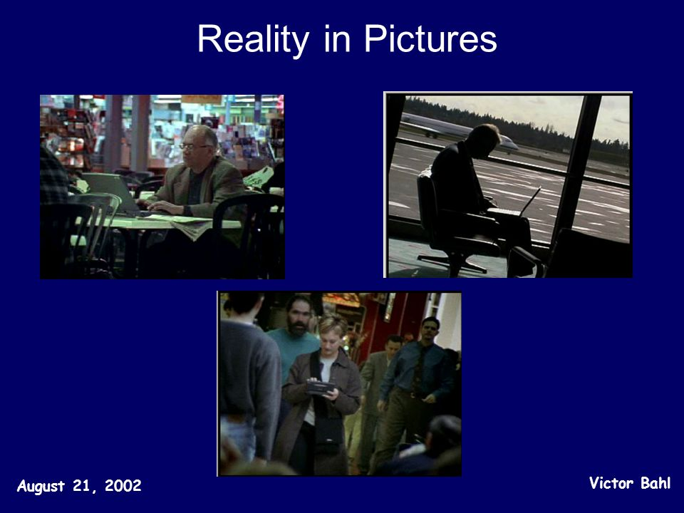 Reality in Pictures August 21, 2002 Victor Bahl