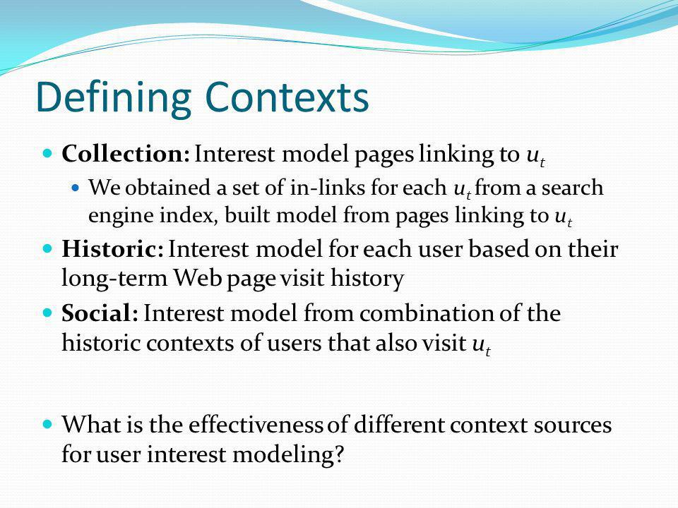 Defining Contexts Collection: Interest model pages linking to ut