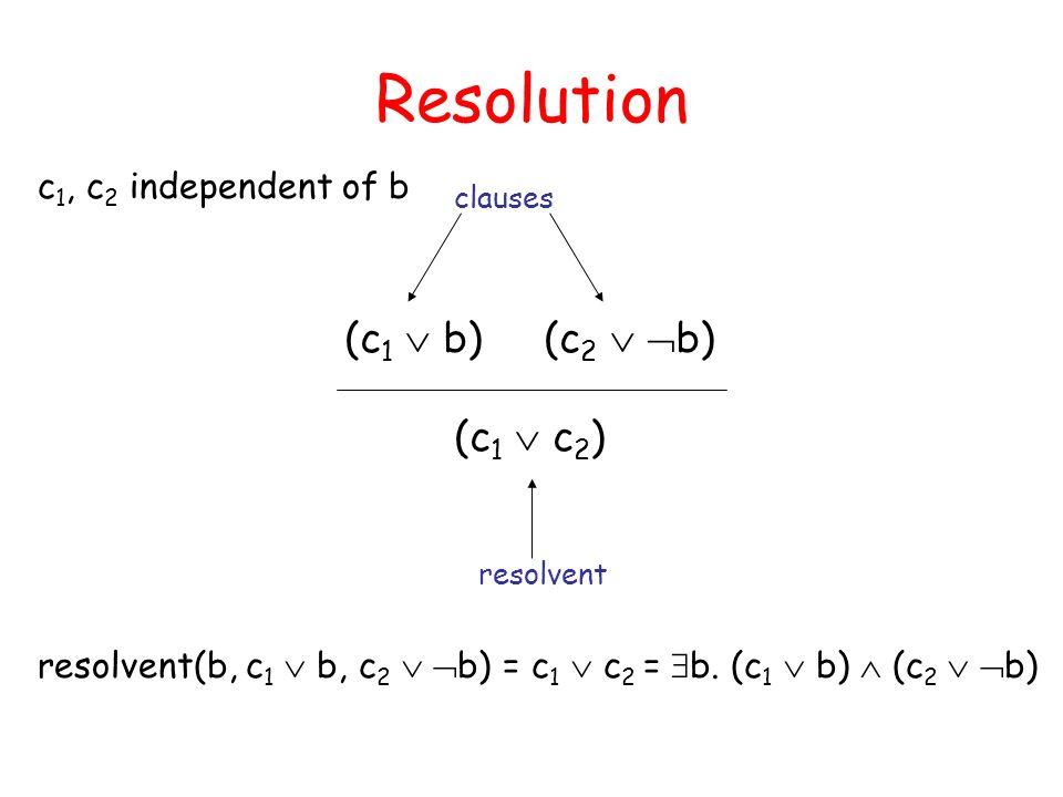 Resolution (c1  b) (c2  b) (c1  c2) c1, c2 independent of b