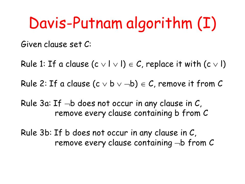Davis-Putnam algorithm (I)