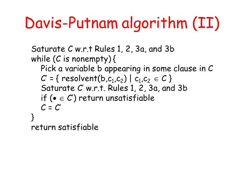 Davis-Putnam algorithm (II)
