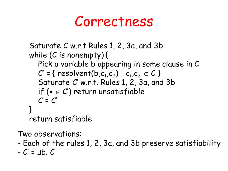 Correctness Saturate C w.r.t Rules 1, 2, 3a, and 3b