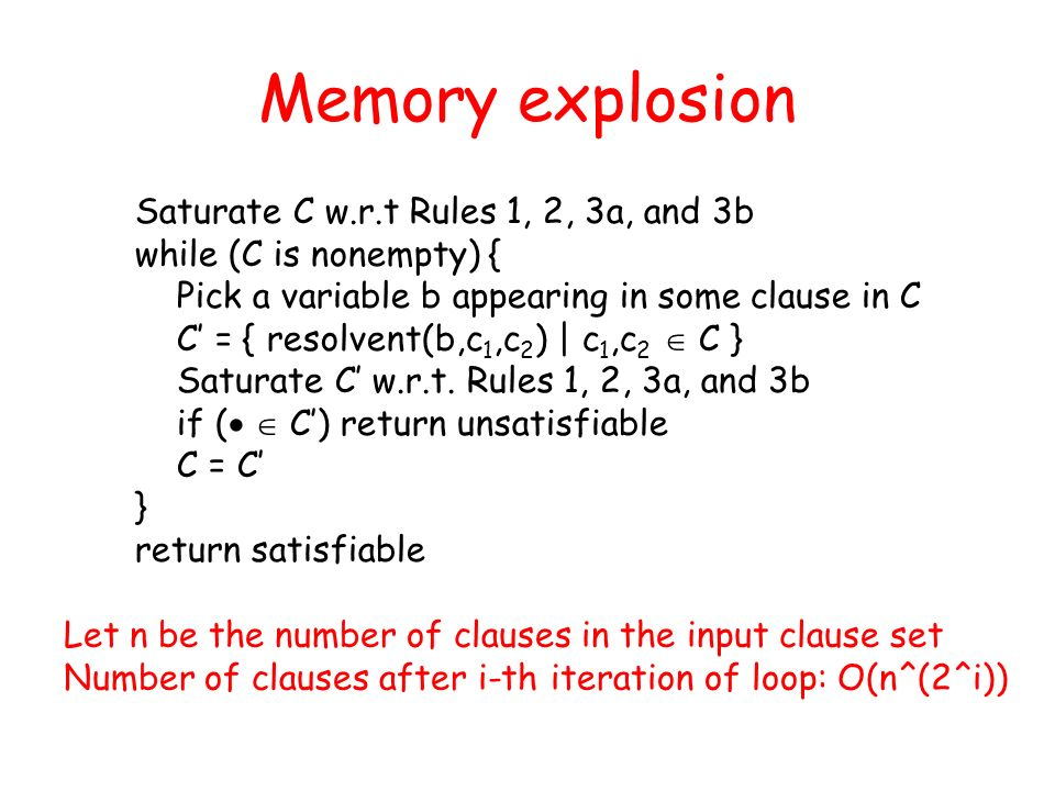 Memory explosion Saturate C w.r.t Rules 1, 2, 3a, and 3b