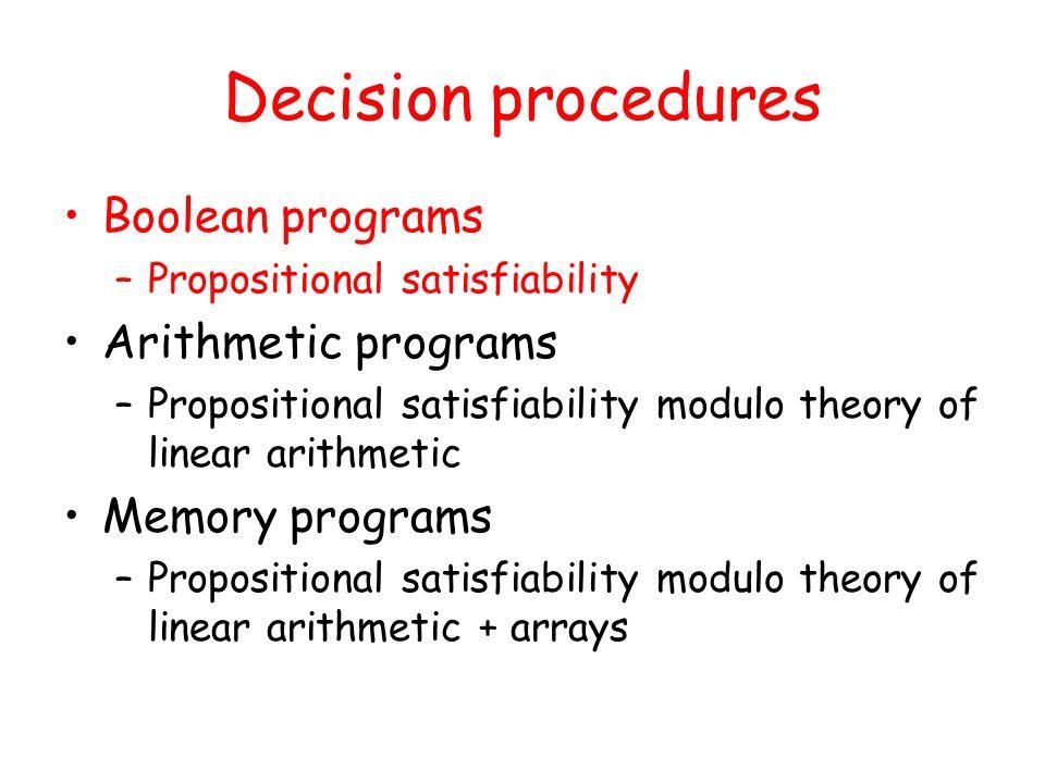 Decision procedures Boolean programs Arithmetic programs