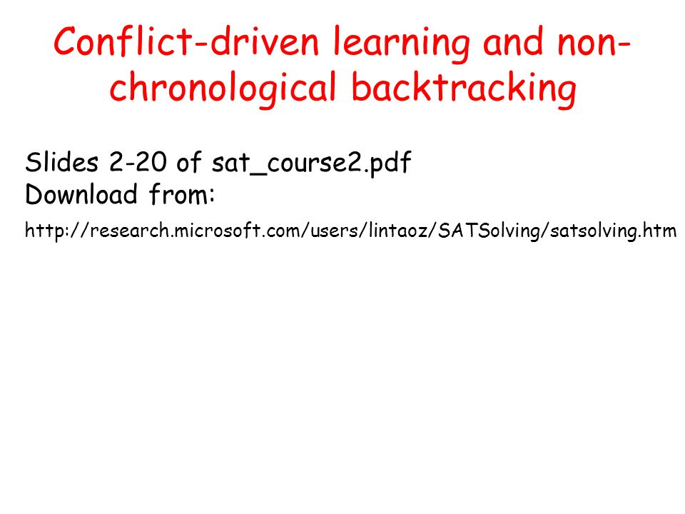Conflict-driven learning and non-chronological backtracking