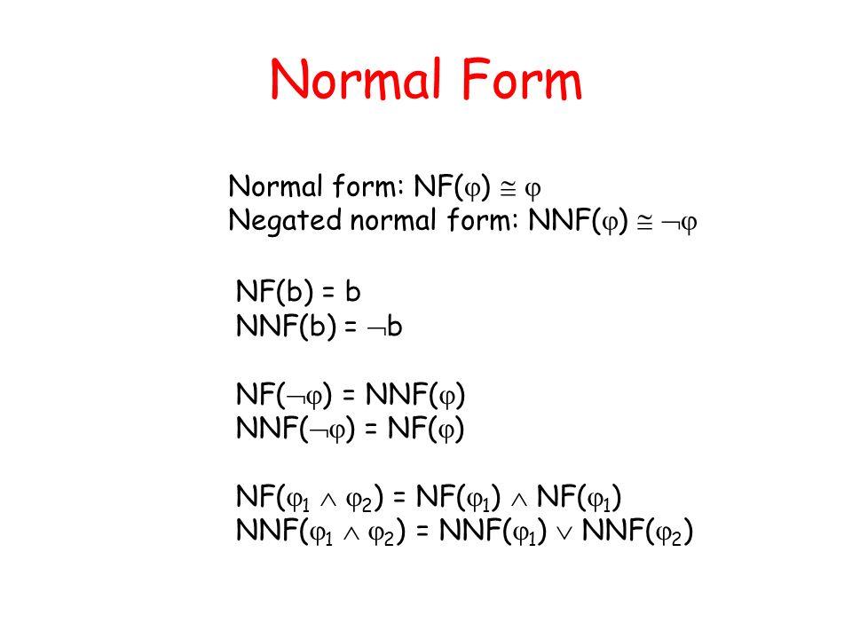Normal Form Normal form: NF()   Negated normal form: NNF()  