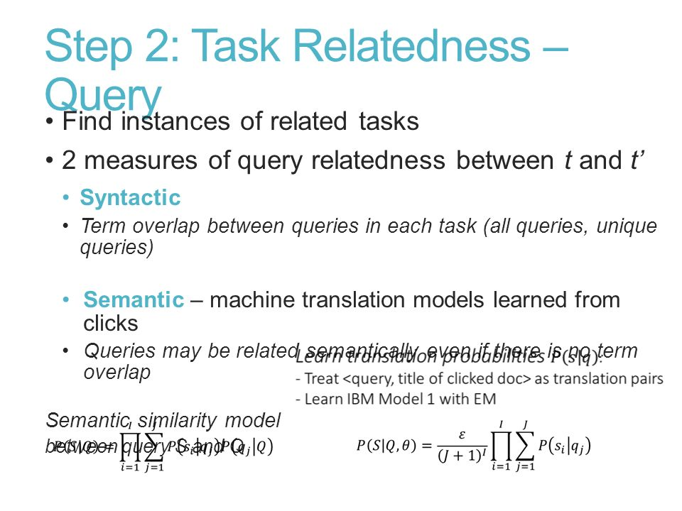 Step 2: Task Relatedness – Query