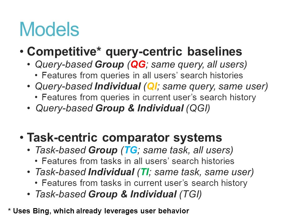 Models Competitive* query-centric baselines