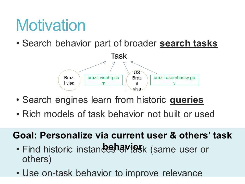 Goal: Personalize via current user & others' task behavior