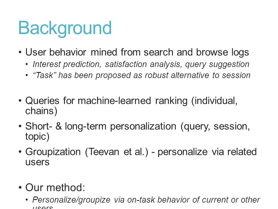 Background Our method: User behavior mined from search and browse logs