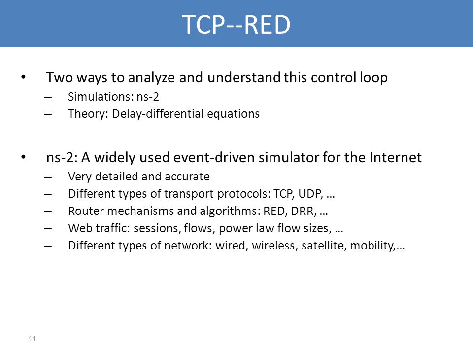 TCP--RED Two ways to analyze and understand this control loop