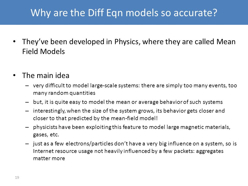 Why are the Diff Eqn models so accurate