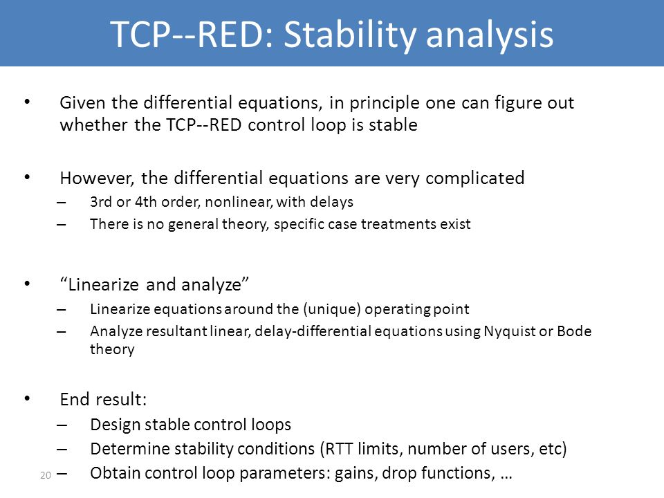 TCP--RED: Stability analysis