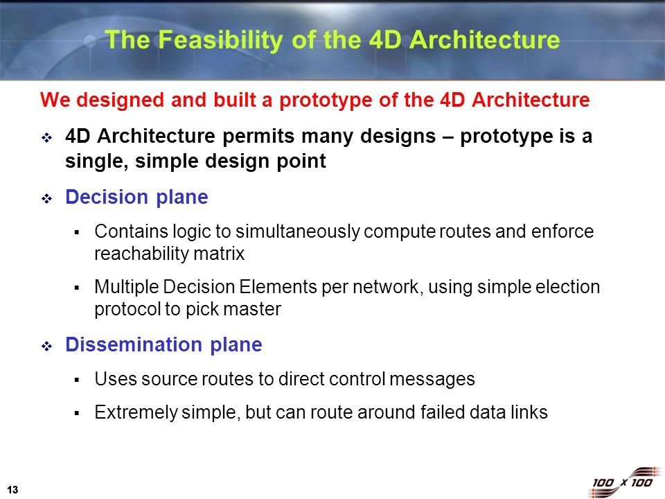 The Feasibility of the 4D Architecture