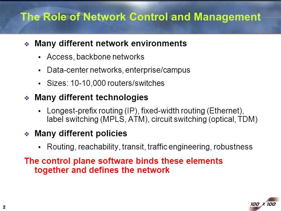 The Role of Network Control and Management