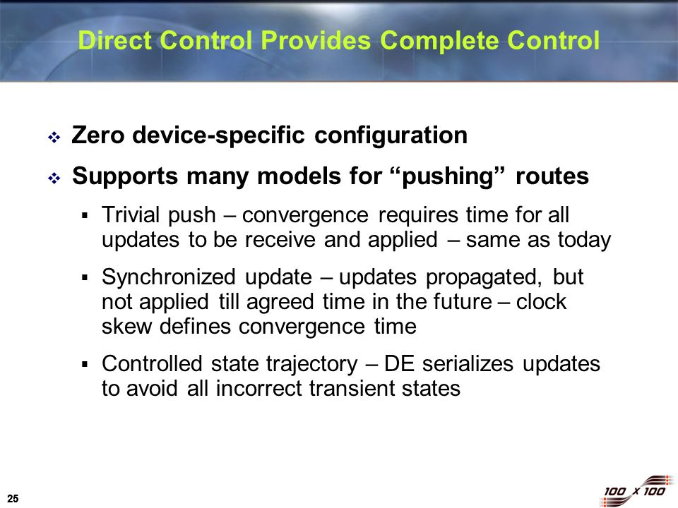 Direct Control Provides Complete Control