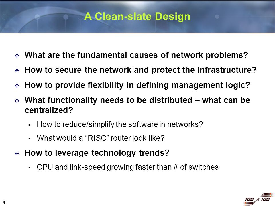 A Clean-slate Design What are the fundamental causes of network problems How to secure the network and protect the infrastructure