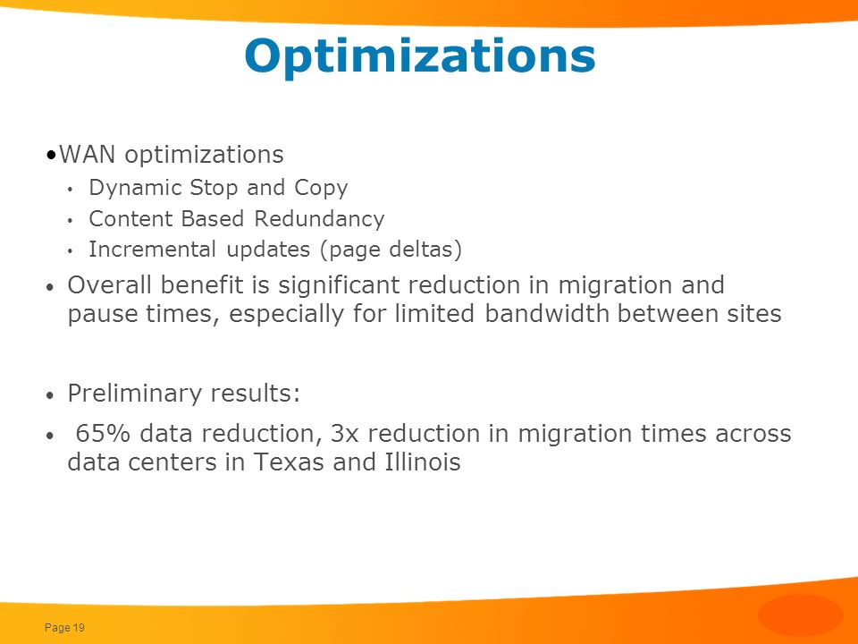 Optimizations WAN optimizations