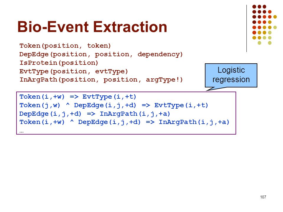 Bio-Event Extraction Logistic regression Token(position, token)